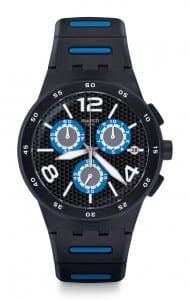 Swatch Black Spy Matte Black Blue Men's Chronograph