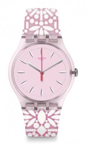 Swatch Fleurie Pink Demask Unisex Watch SUOP109