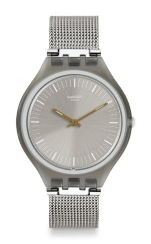 Swatch Skinmesh Silver Dial Stainless Steel Mesh Bracelet Unisex Watch