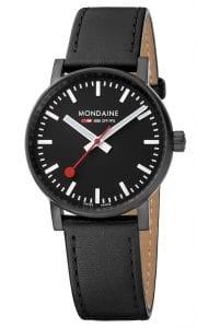 Mondaine evo2 IP Case Black Leather Strap Ladies' Watch