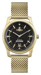 Vivienne Westwood Black Dial Gold Mesh Bracelet Men's Watch VV185BKGD