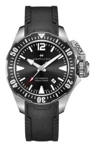 Hamilton Khaki Navy Frogman Auto Black Silicone Strap Men's Watch H77605335