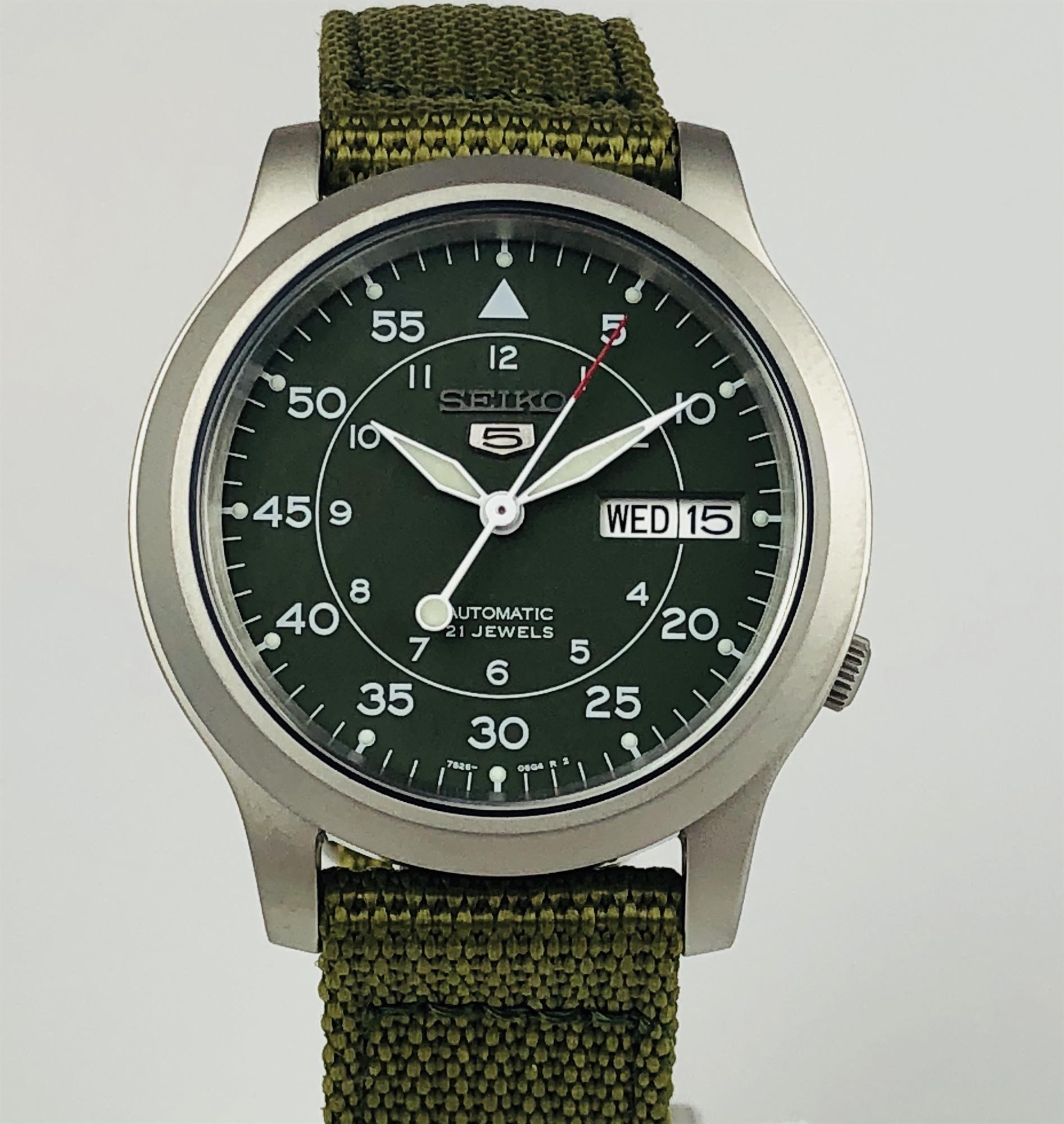seiko 5 automatic military style green mens watch
