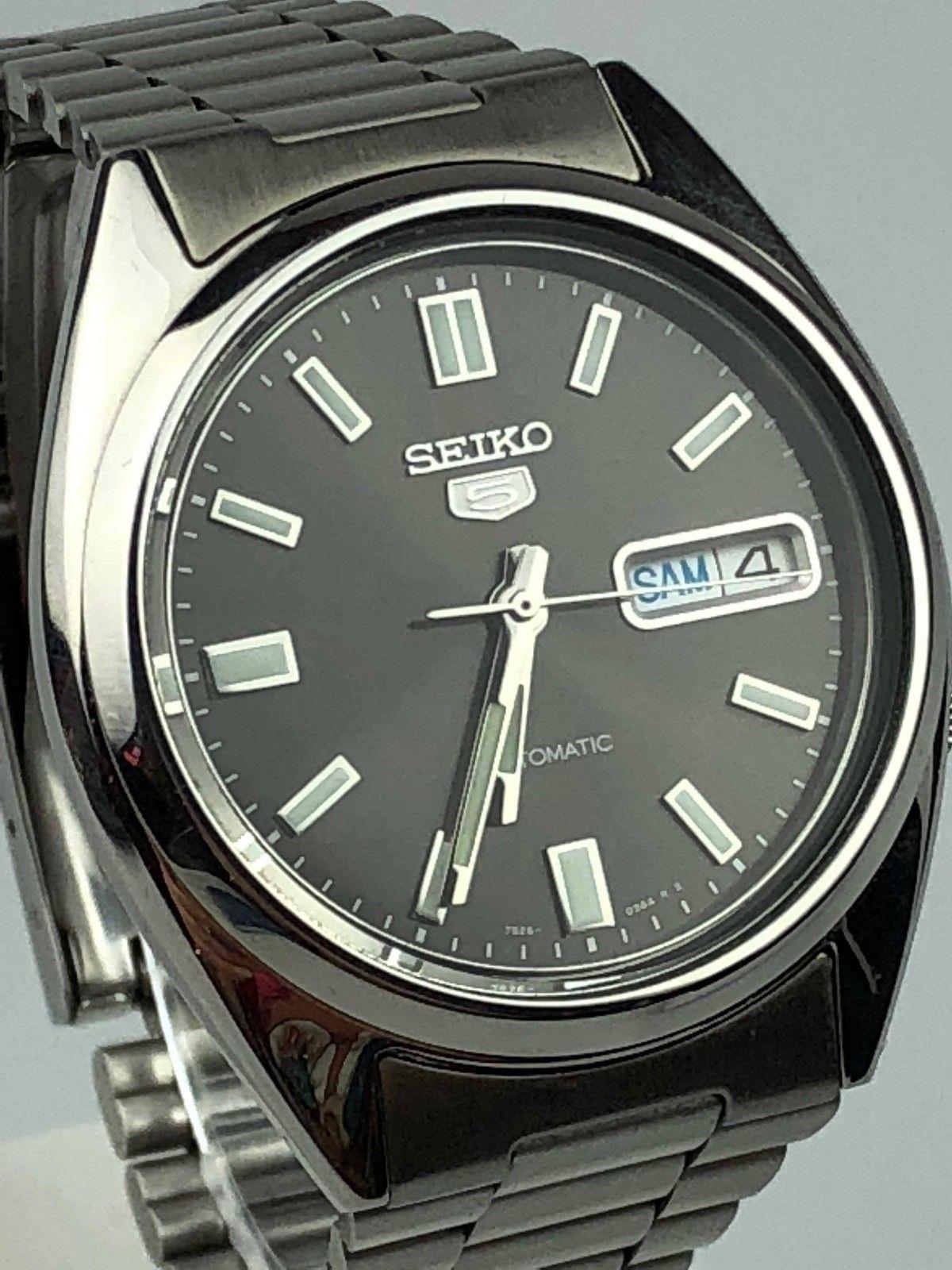 seiko 5 automatic stainless steel black dial men�s watch
