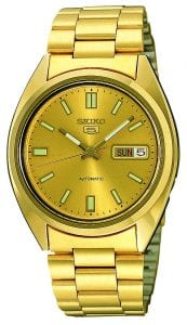 Seiko 5 Automatic Gold Dial Gold Plated Stainless Steel Mens Watch SNXS80