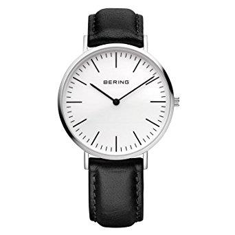 Bering Classic Silver Coloured Stainless Steel Case Black Leather Strap Men's Watch 13738-404 38mm