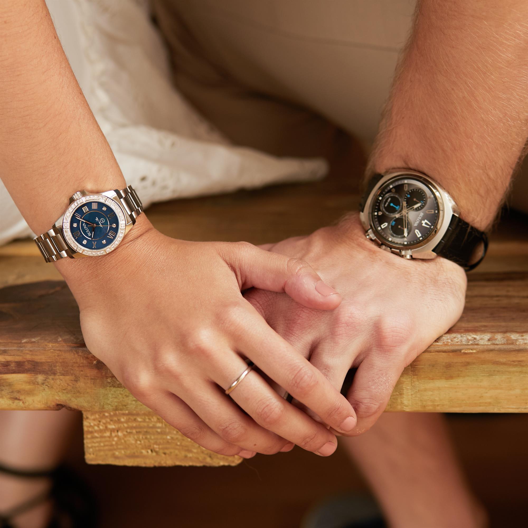 29c619f3d3c7 Bulova Marine Star Blue Dial Ladies  Diamond Watch - WatchNation