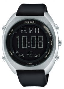 Pulsar Black Dial Black Rubber Strap Men's Watch P5A023X1