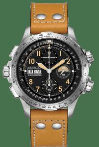 Hamilton Khaki X-Wind Day Date Auto Chrono Limited Edition Brown Leather Strap Men's Watch H77796535