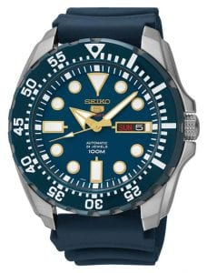 Seiko 5 Sports Automatic Blue Dial Blue Silicone Strap Men's Watch SRP605K2