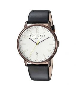Ted Baker White Dial Black Leather Men's Watch TE15067003