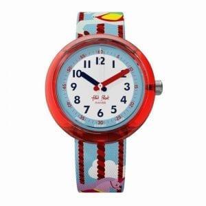 Flik Flak Color Explosion Merry Go Around Blue Plastic Strap Red Plastic Case Girls Watch FPNP031 32mm Case