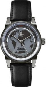 Vivienne Westwood Finsbury World Black Leather Strap Unisex Watch VV065MBKBK