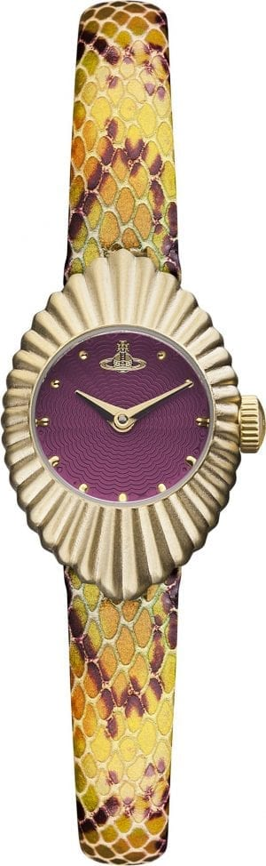 Vivienne Westwood PVD Gold Plated Case Multi Leather Strap Ladies Watch VV096RDPP 21mm