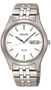 Seiko Solar Stainless Steel Case Stainless Steel Strap Mens Watch SNE031P1 37mm