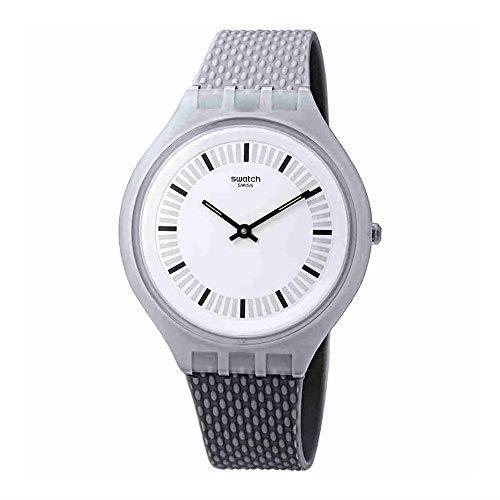 Swatch Skinstructur Grey Plastic Case Rubber Strap Mens Watch SVUM102 40mm