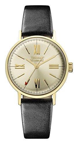 Vivienne Westwood Burlington PVD Gold Plated Case Black Leather Strap Ladies Watch VV170GYBK 32mm