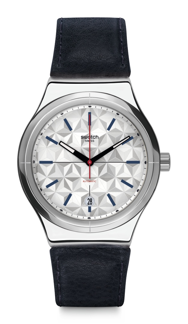 Swatch Sistem Puzzle Stainless Steel Black Leather Strap Automatic Men's Watch yis408