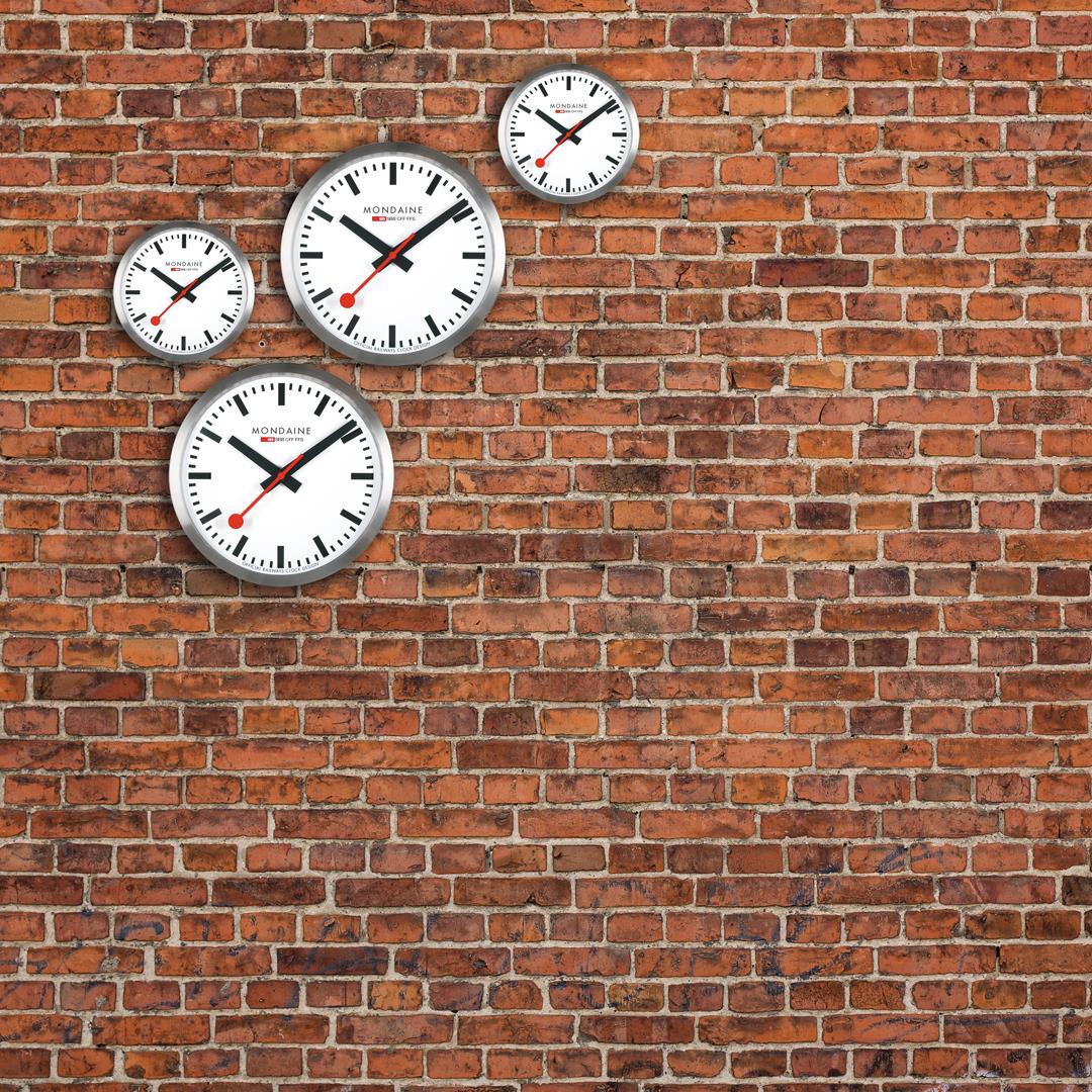 Mondaine Swiss Railways Large Aluminum Case Wall Clock