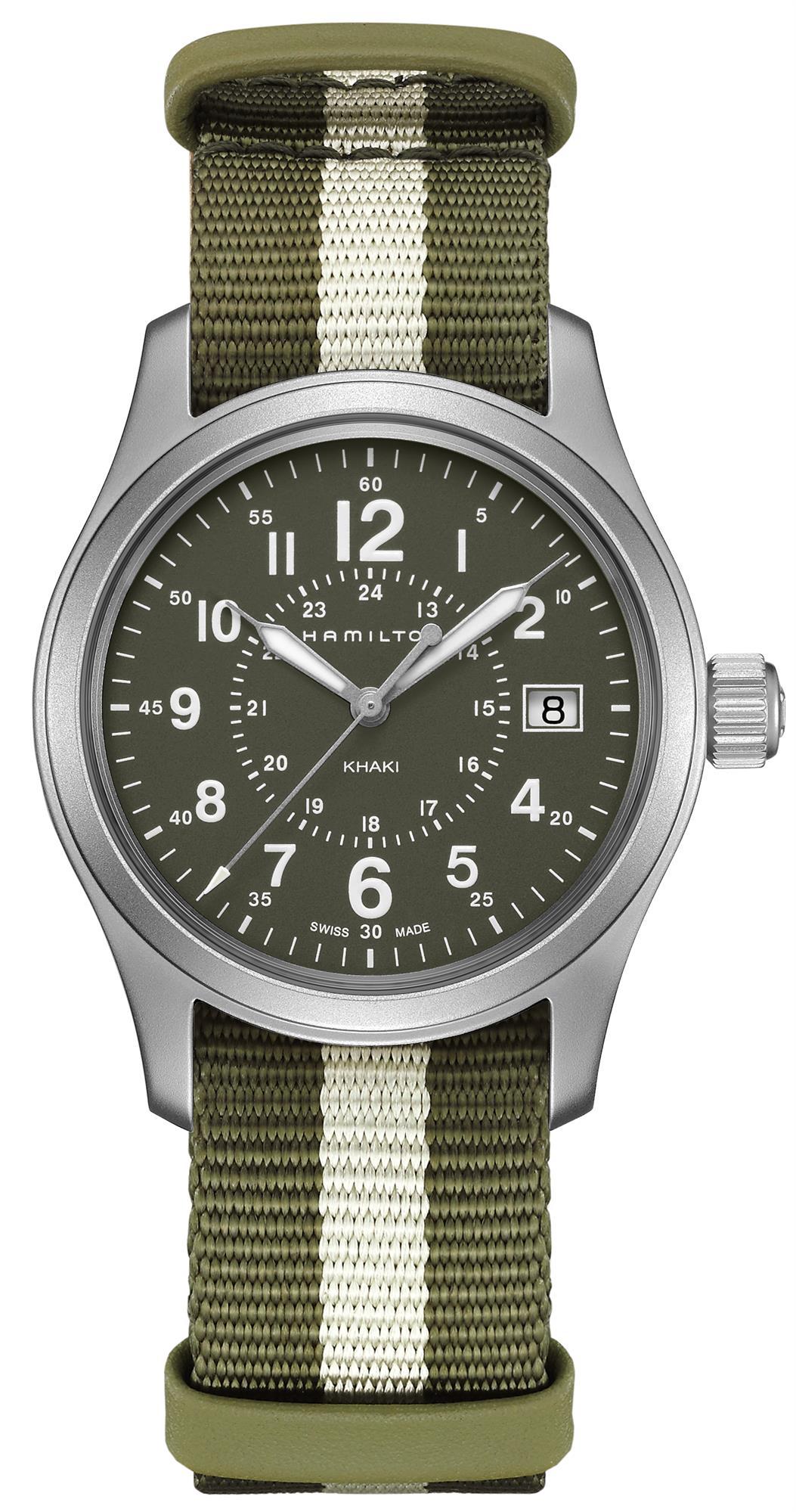 Hamilton Khaki Field Quartz Khaki Green Nato Strap Mens Watch H68201063 38mm