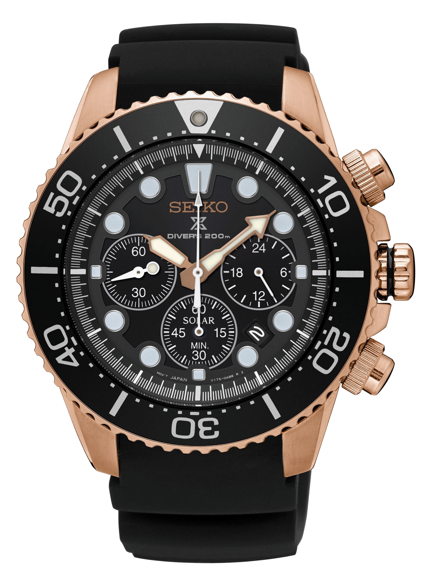 Seiko Prospex Solar Rose Gold Black Diver's Watch SSC618P1