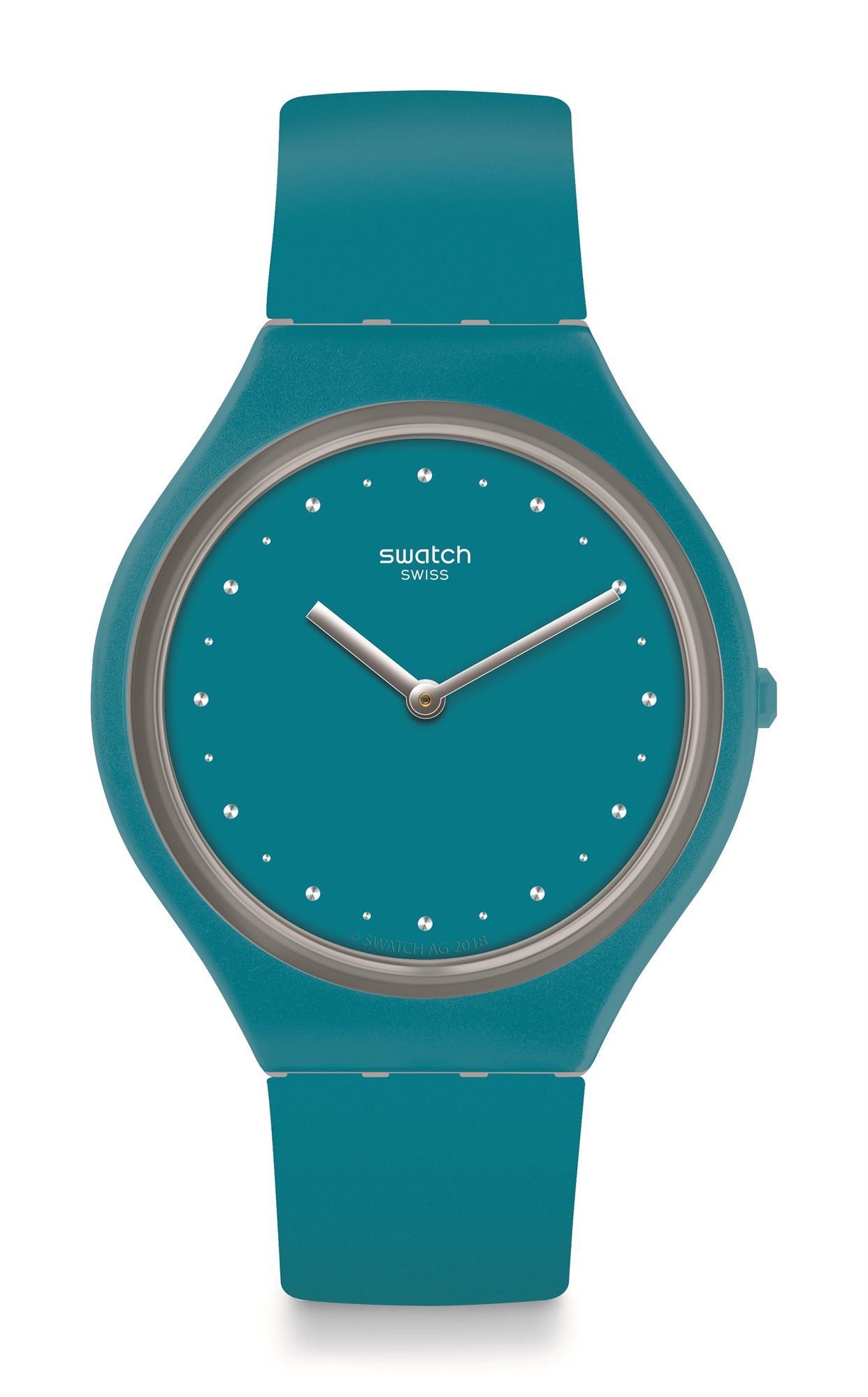Swatch Skin Skinautique Blue Silicone Strap Ladies Watch SVOL100 36.8mm