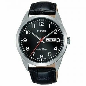Pulsar Classic Silver Stainless Steel Case Black Leather Strap Mens Watch PJ6067X1 38mm