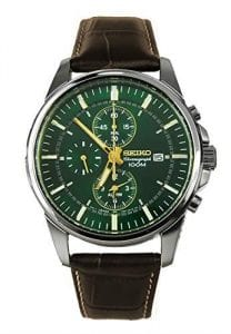 Seiko Chronograph Green Dial Dark Brown Leather Strap Mens Watch SNAF09P1 40mm