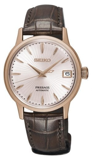 Seiko Presage Cocktail Time Automatic Rose Gold PVD Case Leather Strap Ladies Watch SRP852J1 34mm