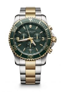 Victorinox Maverick Chronograph Green Dial Two Tone Stainless Steel Bracelet Men's Watch 241693 43mm