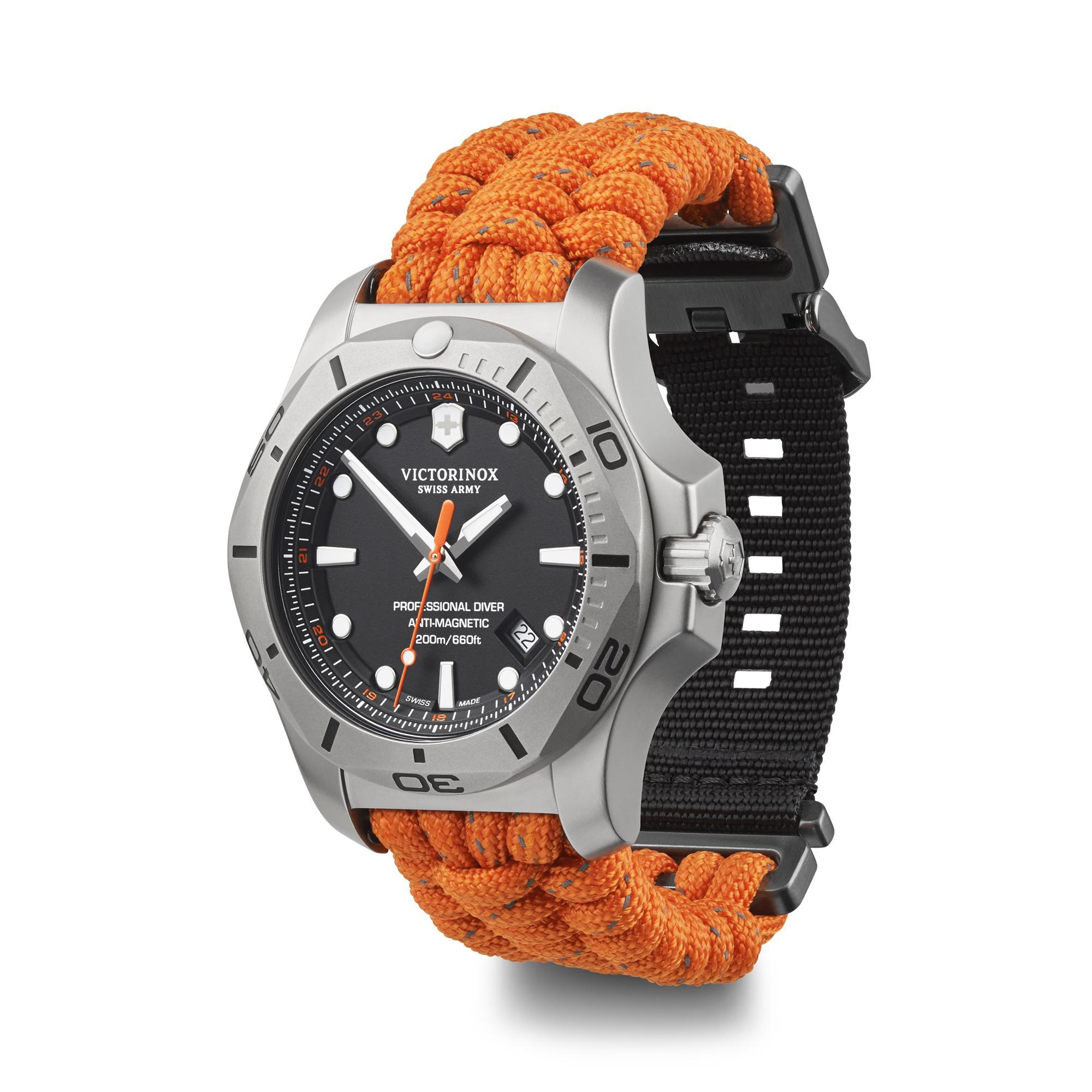 Victorinox I N O X Professional Diver Orange Paracord Strap Mens Watch 241845 45mm