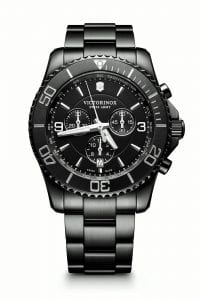 Victorinox Maverick Chronograph Black Edition Tachymeter Mens Watch 241797 43mm