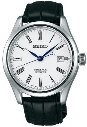 Seiko Presage Automatic Enamel Classic White Dial Leather Strap Mens Watch SPB047J1 41mm