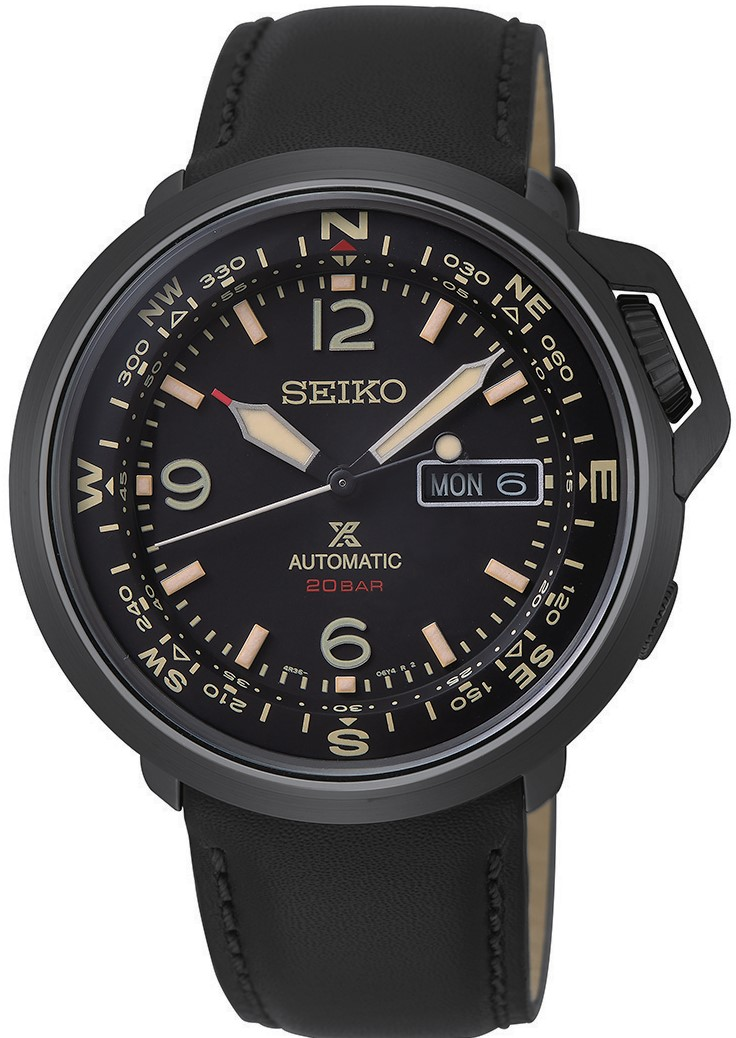 Seiko Prospex Outdoor Black Stainless Steel Black Leather Black Dial Automatic Compass Men S Watch Srpd35k1