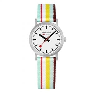 Mondaine Classic Multicolour Textile Strap White Dial Quartz Men's Watch A658.30323.16SBK 30mm