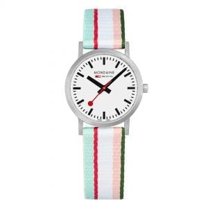 Mondaine Classic Multicolour Textile Strap White Dial Quartz Men's Watch A658.30323.16SBS 30mm