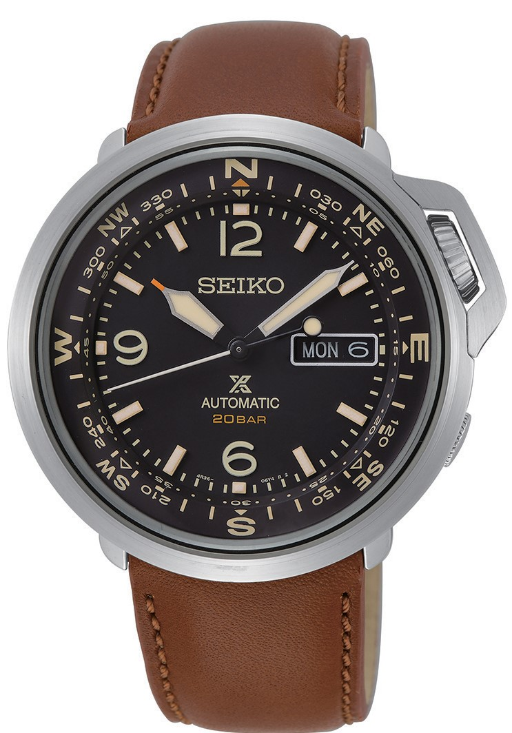 Seiko Prospex Outdoor Silver Stainless Steel Brown Leather Black Dial Automatic Compass Men S Watch Srpd31k1