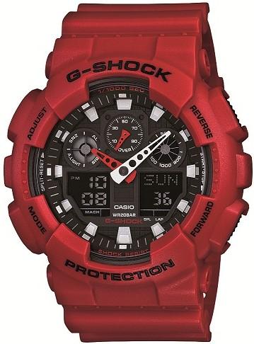 Casio G-Shock Red Resin Black Dial Digital Quartz Alarm Chronograph Men's Watch GA-100B-4AER