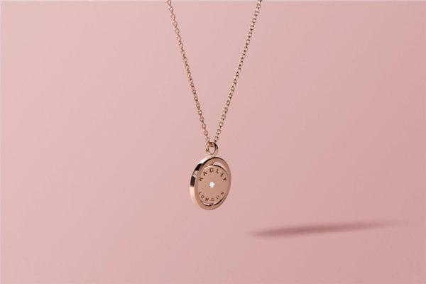 Radley Love Rose Gold PVD Sterling Silver Spinning Dog Pendant Necklace RYJ2016