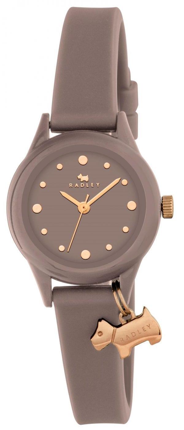Radley Watch It! Grey Silicone Strap Gold PVD Dog Charm Quartz Ladies Watch RY2322