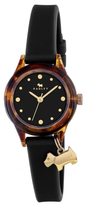 Radley Watch It! Black Silicone Gold PVD Dog Charm Quartz Ladies Watch RY2324