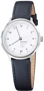 Mondaine Helvetica White Dial Black Leather Strap Ladies Watch