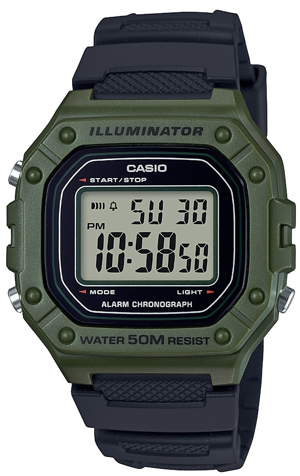 Casio Collection Green Black Men's Watch W-218H-3AVEF