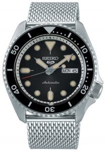 Seiko 5 Sports Black Dial Silver Steel Mesh Bracelet Automatic Men's Watch SRPD73K1