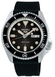 Seiko 5 Sports Silver Stainless Steel Case Black Silicone Strap Automatic Men's Watch SRPD73K2