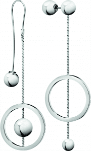 Calvin Klein Unpaired Silver Stainless Steel Drop Earrings KJ9VME000100