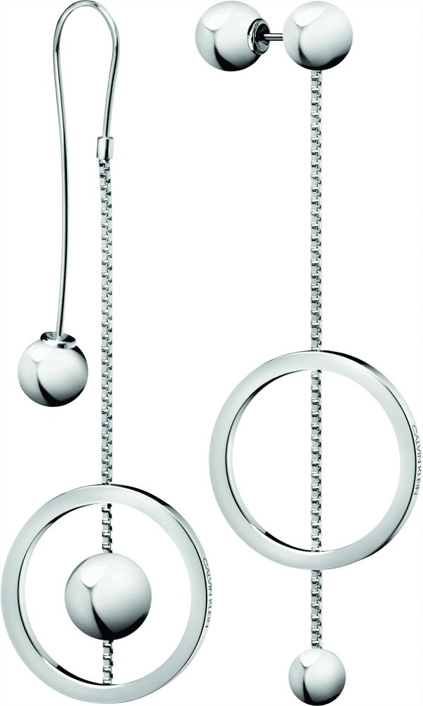 Calvin Klein Unpaired Silver Stainless Steel Drop Earrings KJ9VME000100