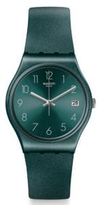Swatch Core Refresh AshBaya Green Sun Brushed Quartz Ladies Watch GG407 34mm