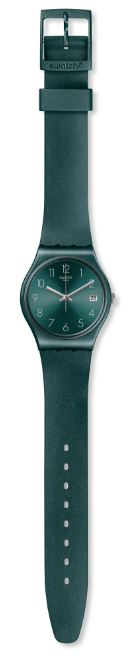 Swatch Core Refresh AshBaya Green Sun Brushed Quartz Ladies Watch GG407 34mm