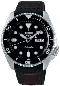 Seiko 5 Sports Black Dial Silicone Strap Automatic Men's Watch SRPD55K2